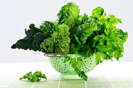Dark green leafy fresh vegetables in metal colander